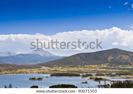 Serene landscape of lake  and mountains in Colorado, USA