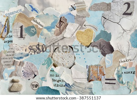 serene zen Creative Atmosphere art mood board collage sheet in color idea  aqua blue , mint green,grey, white made of  teared magazine and printed matter paper with colors and textures #387551137