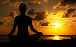 Serenity and yoga practicing in twilight sunset time, meditation