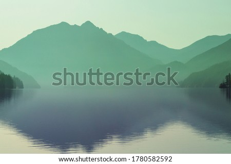 Serenity lake in the mountains in summer season. Beautiful natural landscapes. Сток-фото ©