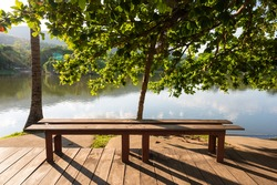 Serenity lakeside view, a bench on the lakeside under the tree shade, lakeside paradise, relax by the lake  in an afternoon