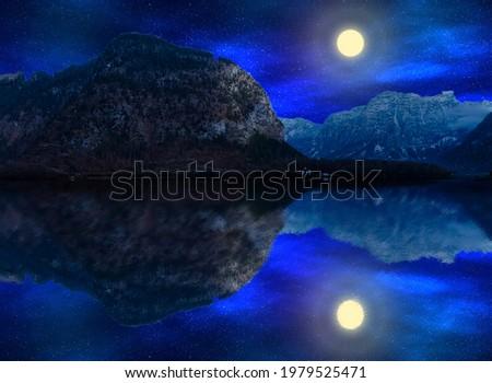 Serenity landscape on the lake's shore at full moon, 3d illustration Stock fotó ©