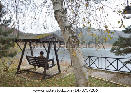 Serenity on a swinging chair with a view of the lake #1478737286