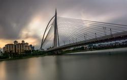 Seri Wawasan Bridge, Putrajaya, Malaysia, shot in low speed
