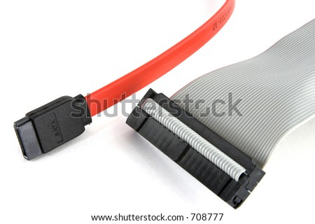 Serial ata and ide cables together