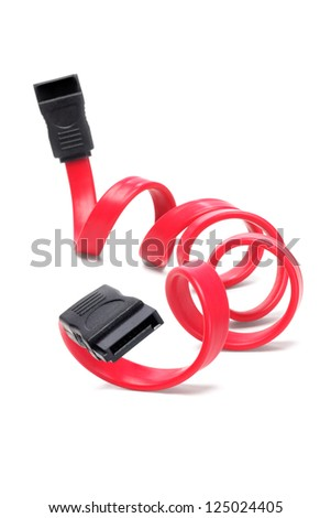 Serial ATA Cable on White Background - stock photo