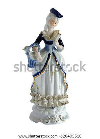 Serial porcelain figurine of Lady with a fan isolated on white background