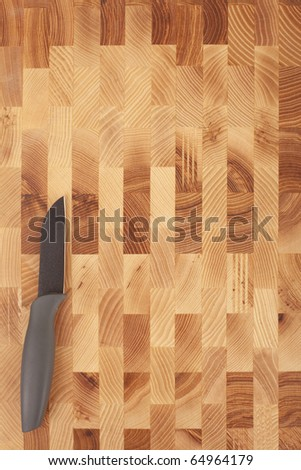 Series. kitchen knife isolated on wooden background - stock photo