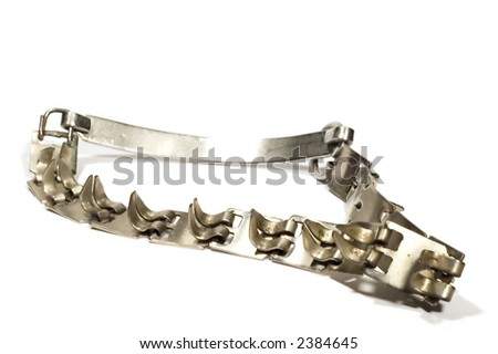 series object on white: isolated -Metal collar for dog