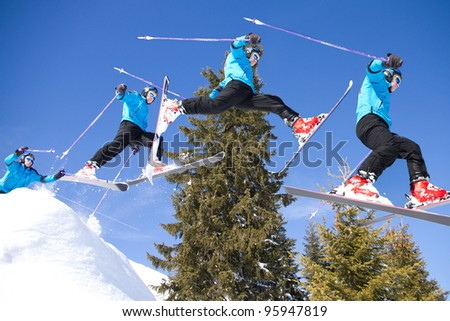 series of a skier in a jump