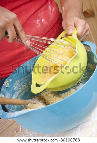 Series of a woman cooking in the kitchen with bright bowls
