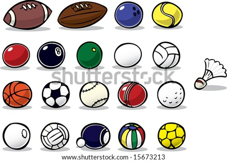 Series of cartoon ball icons - stock photo