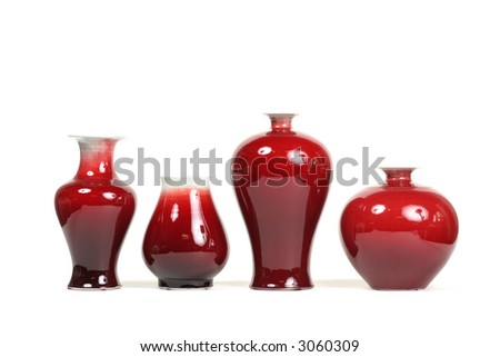 Series of 4 chic red vases