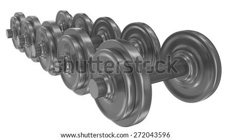 Series of dumbbells isolated on white background illustration