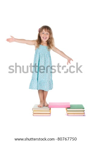 series of full length portrait of young happy smiling little girl stand on books, schoolgirl  looking at camera,  isolated over white background, concept of education school children