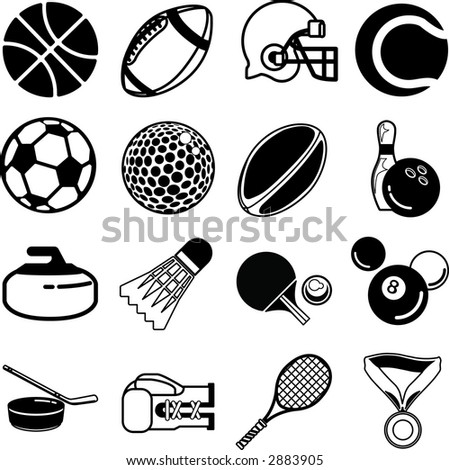 series of icons or design elements relating to sports. Raster version