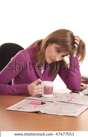 Series of images with young woman searching for ads and job in the newspaper. She is in despair. Isolated on White.