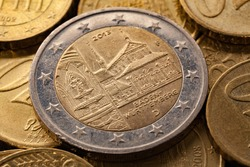 Series of macro shots of euro coins. Reverse of 2 Euro coin. Year of manufacture 2013. Country Germany. Special coinage, Baden-Württemberg