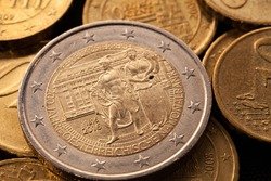 Series of macro shots of euro coins. Reverse of 2 Euro coin. Year of manufacture 2016. Country Austria. Special coinage, 200 National Bank