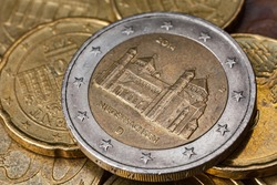 Series of macro shots of euro coins. Reverse of 2 Euro coin. Year of manufacture 2014. Country Germany. Special coinage, Niedersachsen