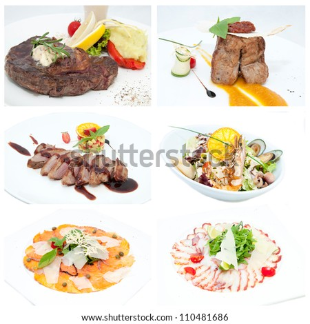 series of meat and salads