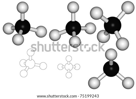 Series of methane molecule, illustration against white background