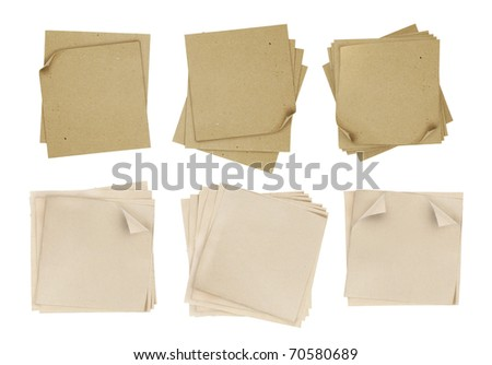 series of note paper over white background