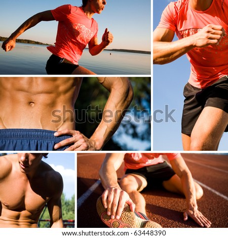 series of photographs of sports training of young handsome men. Unrecognizable.
