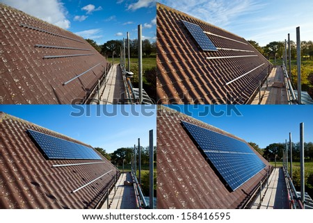Series of photos showing solar panels being fitted. - stock photo