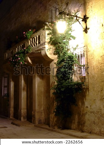 Series of photos taken in the medieval 3000yr old city of Mdina, Malta, by night. - stock photo