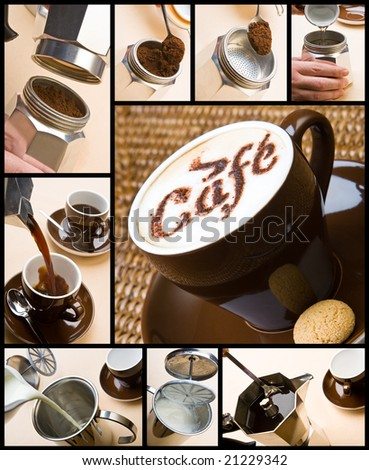 Series of pictures on making a cappuccino - stock photo