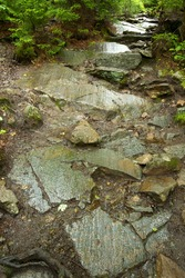 Series of scoured granite ooutcrops, with glacial striations in a hiking trail on Mt. Kearsarge in Wilmot, New Hampshire.