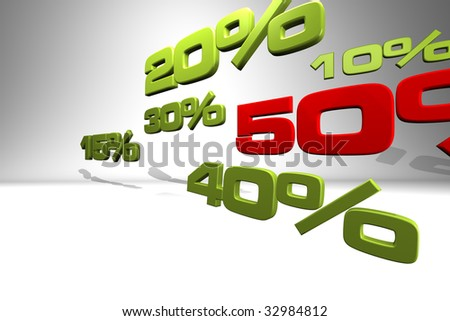 Series of various percentage numbers