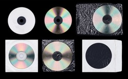 series of vintage gritty blank compact disc in plastic case and paper packaging for mockup isolated on black background