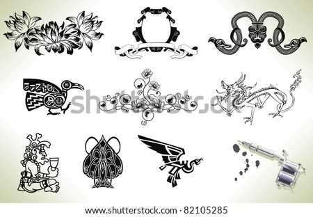 Series set of tattoo flash design elements with tattooists gun or machine