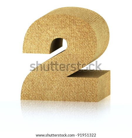 Series with clipping path, Number two made of recycled cardboard, High-resolution 3d rendering