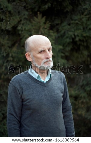 Serious and pensive bald elderly man with a gray beard in a gray jumper
