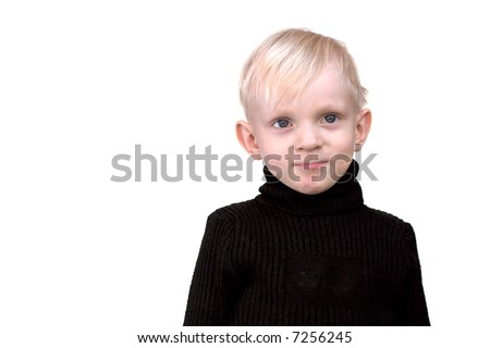 stock photo : Serious boy with blond hair and blue eyes wearing black