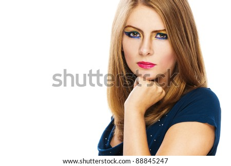 serious bright beautiful woman long hair white background blue dress
