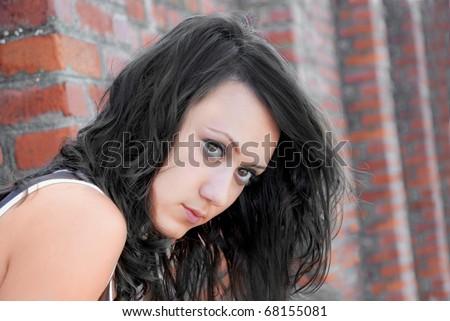 serious brunette girl
