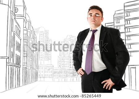 Serious businesman in glasses looking to camera against abstract sketch of city street