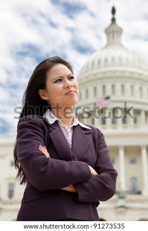 Serious business woman on Capitol Hill in Washington DC