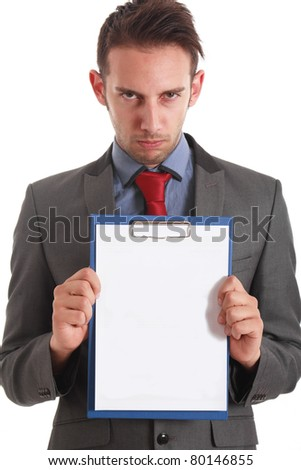 Serious businessman holding a blank notebook