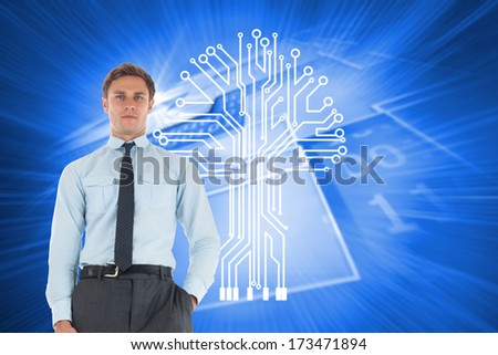 Serious businessman standing with hand in pocket against shiny background with squares