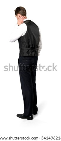 15fe93518ac Serious Caucasian man with short dark brown hair in business casual outfit  with hands behind head