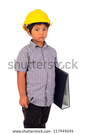 Serious child with a yellow helmet and holding file isolated on a over white background