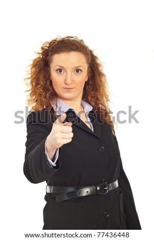 Serious executive business woman accusing you isolated on white background