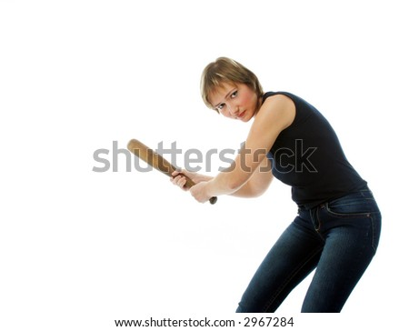 Serious girl with wooden bat ready to hit the target - stock photo