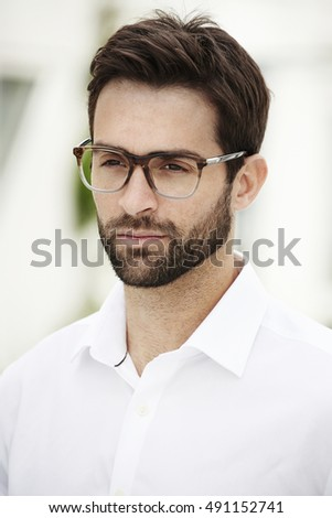 Serious man wearing spectacles Stock photo ©