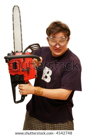 Serious man with chainsaw. Isolated on white.